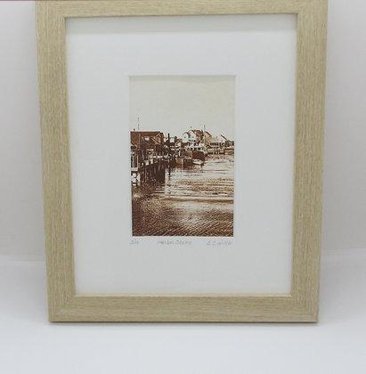"""""""Harbor Scene"""" Solar Plate Framed Etching by Artisan Sandi Cirillo"""