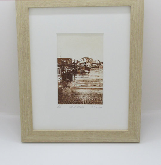 """""""Harbor Scene"""" Solar Plate Framed Etching"""