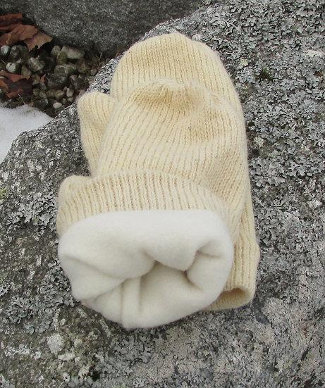 Natural  Wool Fleece Lined Knit Mittens