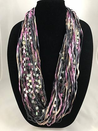 Violet Marble Ribbon Necklace by Artisan Jane Arey