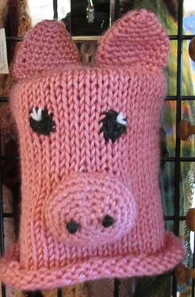 Children's Handknit Pig Hat by Artisan Karen Hartt: