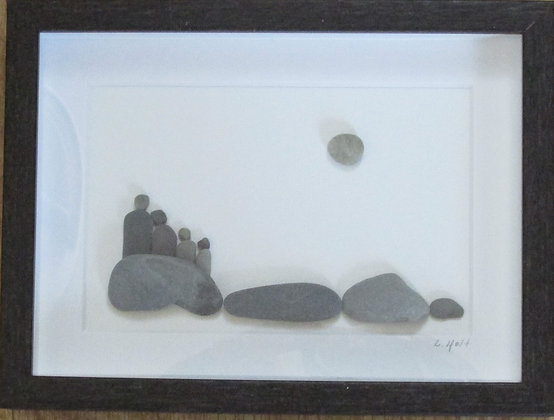 Family Time,   Framed Wall Hanging by Artisan Lisa Holt