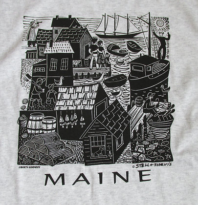 Maine Waterfront Adult T Shirt by Artisan Liberty Graphics