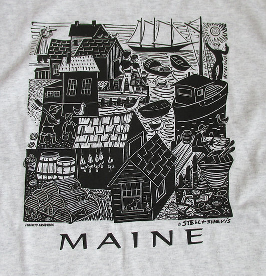 Maine Waterfront Adult T Shirt