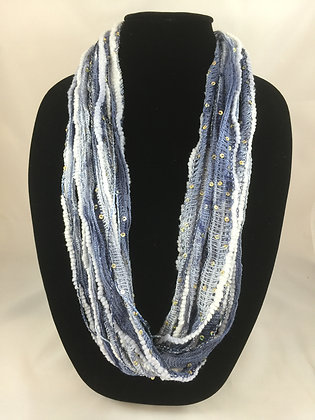 Sequined Ice Blue Water Plush Necklace by Artisan Jane Arey