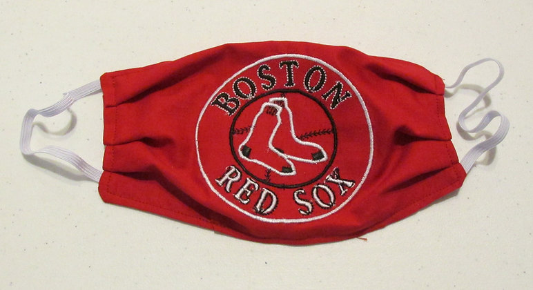 Red Sox Embroidered Face Mask by Artisan May Bouchard