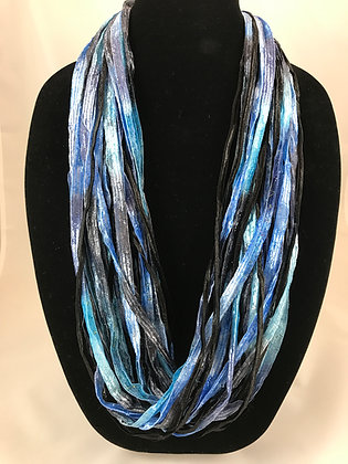 Deep Sea Blue Ribbon Necklace by Artisan Jane Arey
