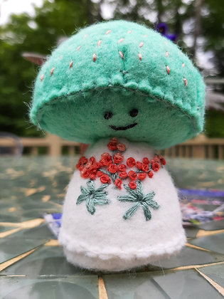 Teal Embroidered  Mushroom by Artisan Kathy Beauregard