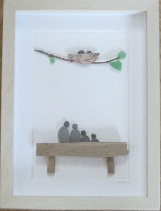 Listening to the Birds,   Framed Wall Hanging by Artisan Lisa Holt