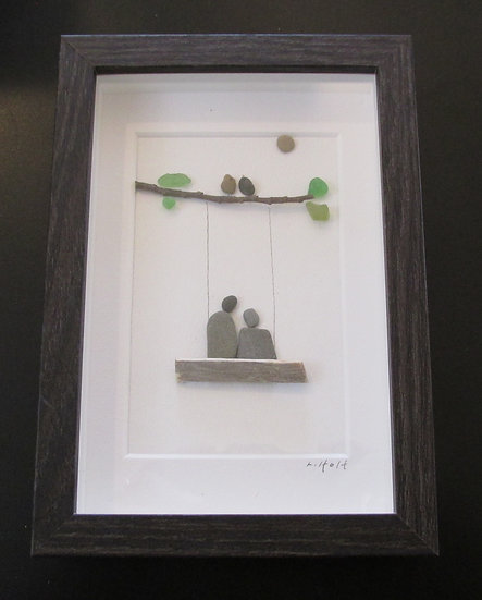Swinging and Listening to the Birds,   Framed Wall Hanging