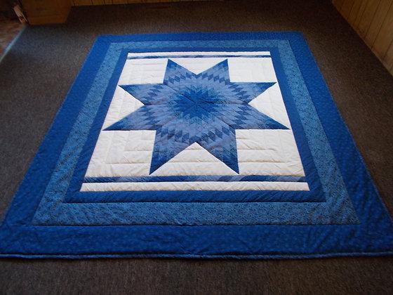 Royal Blue Radiant Star Quilt by Artisan Susan Hoffman