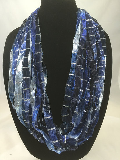 Deep Sea Blue Ribbon Necklace
