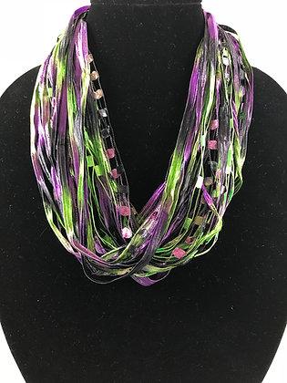 Mardi Gras Ribbon Necklace by Artisan Jane Arey