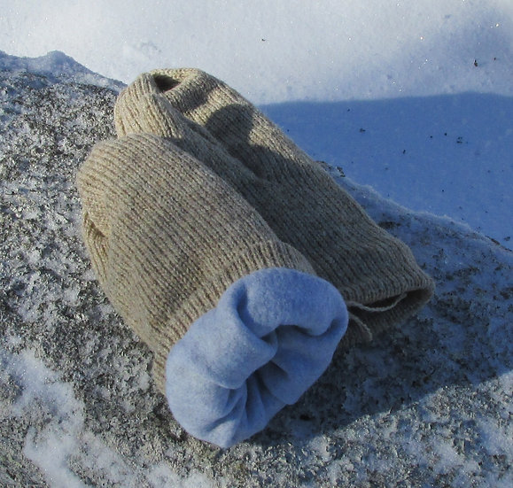 Oatmeal Fleece Lined Wool Handknit Handknit Mittens