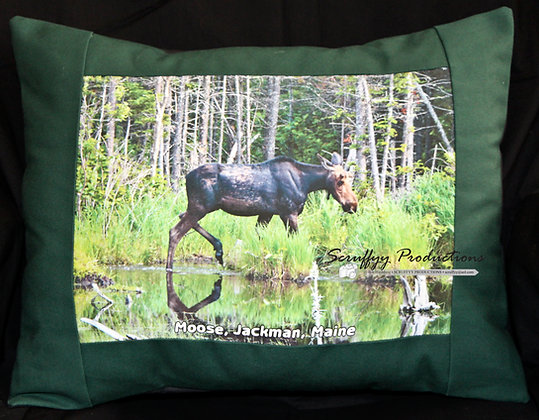 Moose Jackman Pillow by Artisan Bob Hirshberg