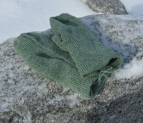 Green Heather Fleece lined Wool Mittens