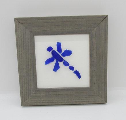 Framed Blue Seaglass Dragonfly by Artisan Karen Lannon
