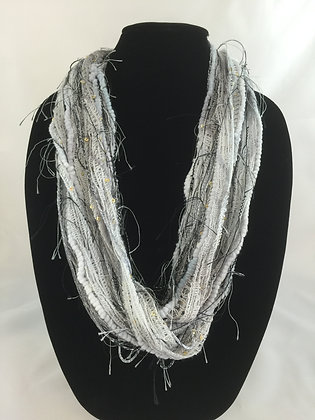 Festive Sequined Slate Plush Necklace by Artisan Jane Arey