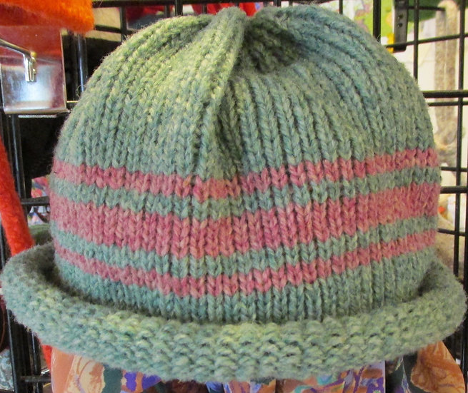 Green Heather Rolled Brim Wool Hat