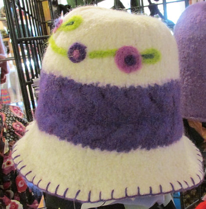 I Love Purple Handmade Felted Wool Hat by Artisan May Bouchard