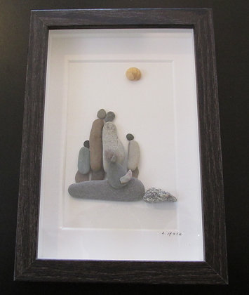 Family Day, Framed Wall Hanging by Artisan Lisa Holt