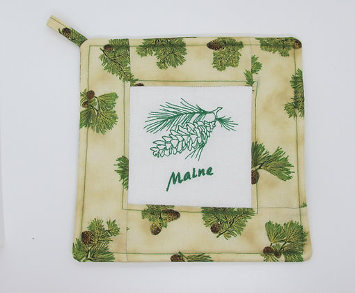 Embroidered Maine Pine Cone Pot Holder by Artisan May Bouchard
