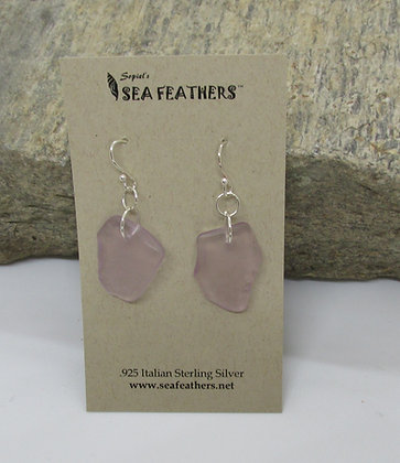 Lavender Sea Glass Earrings by Artisan Sopiel's Sea Feathers