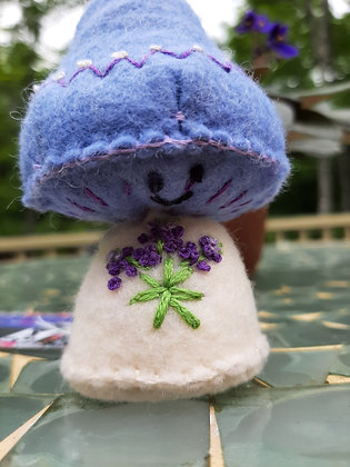 Purple Embroidered  Mushroom by Artisan Kathy Beauregard