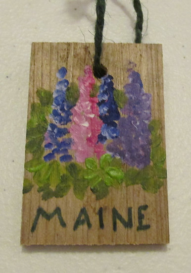 Hand painted Maine Lupine ornament