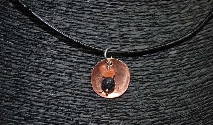 Textured Copper Disc, Sunstone Lava Stone Necklace