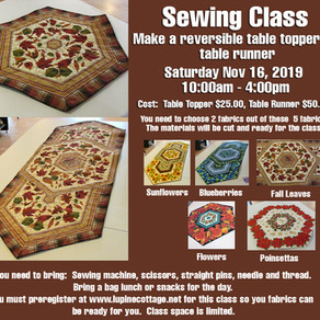 November Sewing Class at The Lupine Cottage