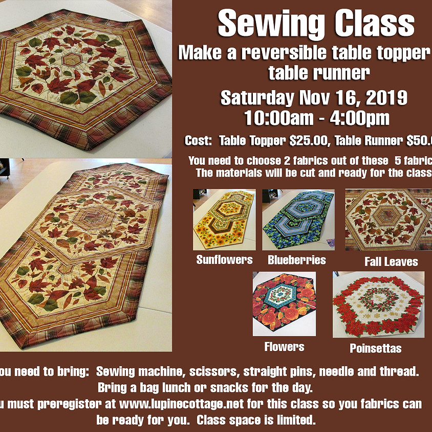 Sewing Class, Make a reversible table topper or table runner