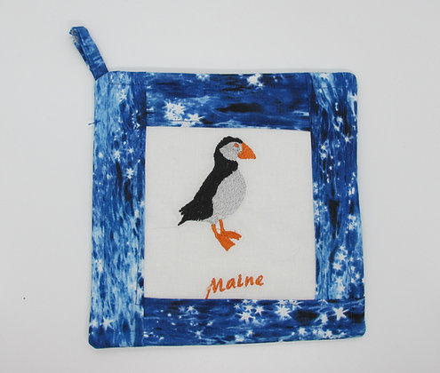 Embroidered Maine Puffin Pot Holder by Artisan May Bouchard