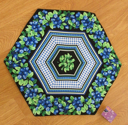 Reversible Blueberry Table Topper by Artisan May Bouchard