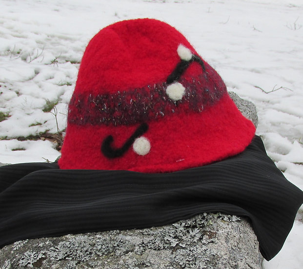 Felted Red Hat and Black Infinitiy Scarf Set