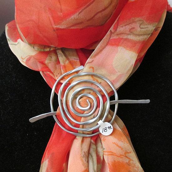 Handmade Round Aluminum Scarf Pin