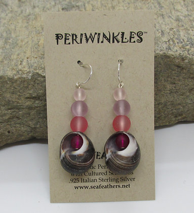Periwinkles and Seaglass Earrings by Artisan Sopiel's Sea Feathers