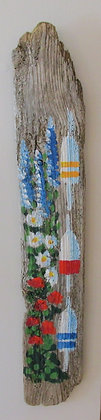 Garden by the Bay Hand Painted on Driftwood by Artisan Candace McKellar