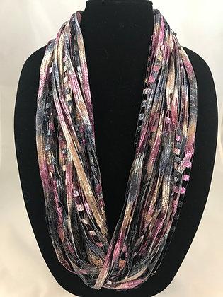 Frost Slate Purple  Ribbon Necklace by Artisan Jane Arey