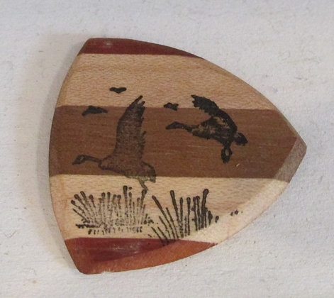Flying Geese Wooden Guitar Pick by Artisan Chris Gray