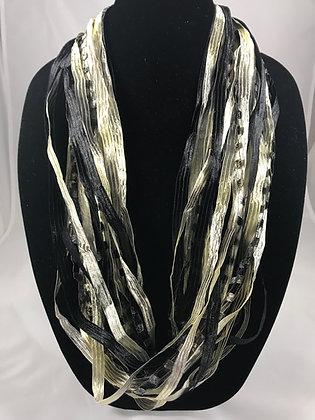 Black & Silver Ribbon Necklace by Artisan Jane Arey
