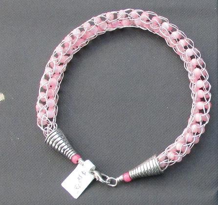 Pint Cat's Eye Beaded Spool Knit Bracelet