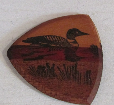 Loon Wooden Guitar Pick by Artisan Chris Gray
