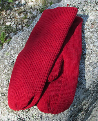 Cranberry Double Knit Wool Handknit Mittens