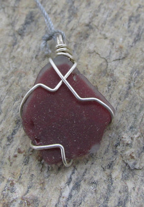 Sea glass Pendant Wrapped in Sterling Silver by Artisan Matthew Edgely