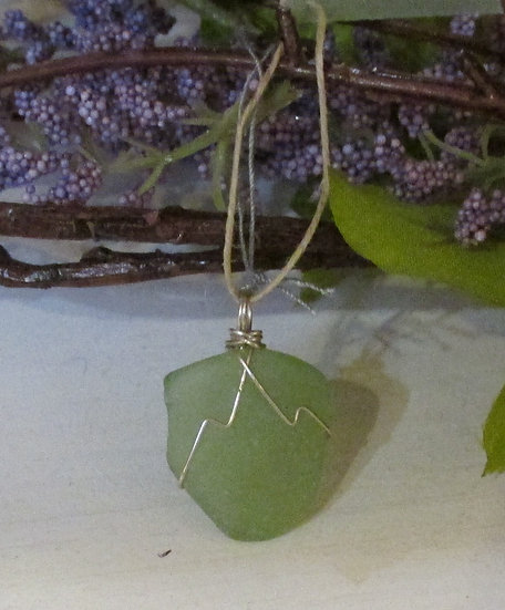 Seafoam Green Seaglass Pendant wrapped in Sterling Silver