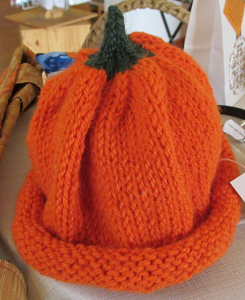 Children's Handknit Pumpkin Hat by Artisan Karen Hartt: