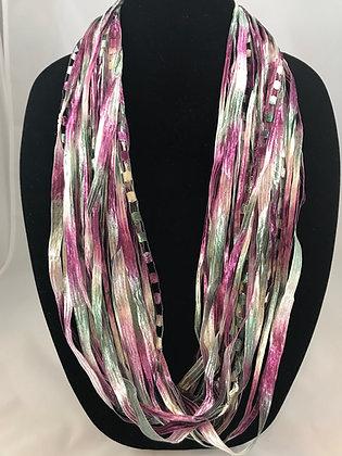 Raspberry Sage Ribbon Necklace by Artisan Jane Arey