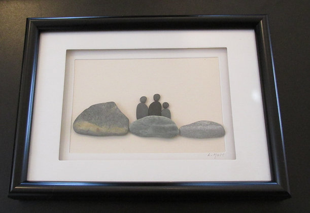 Just the Three of us,   Framed Wall Hanging by Artisan Lisa Holt
