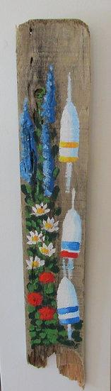 Summer Garden Hand Painted on Driftwood